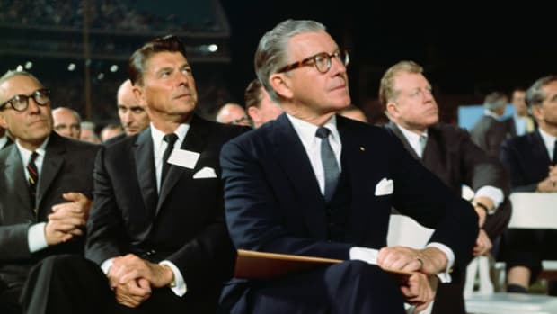 "When Ronald Reagan, as spokesperson for General Electric, gives his ""Time for Choosing""  speech in support of Barry Goldwater's 1964 presidential run, he establishes himself as an important player in the Republican Party and jumpstarts his political career."