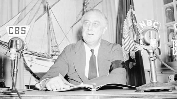 In an address to the nation on Labor Day 1942, President Franklin D. Roosevelt summarizes an earlier meeting with Congress in which he urged cooperation to pass his seven-point economic plan to fight inflation, which was presented to both houses on April 28.