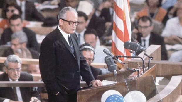 "On July 16, 1964, Sen. Barry Goldwater accepted the presidential nomination at the Republican National Convention in San Francisco. In his speech, he strikes a controversial note as he calls for ""extremism"" in dealing with America's Cold War enemies."