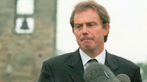 "On August 31, 1997, Lady Diana Spencer, the former wife of Prince Charles, was killed with her companion Dodi Fayed in a car accident in Paris. In an emotional speech outside the 12th-century stone church he attends in his parliamentary district in Sedgefield, Prime Minister Tony Blair remembers Diana as ""the people's princess."""