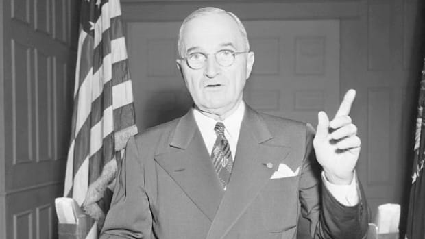 On July 19, 1950, in a radio and television address, President Harry Truman announces to the world that America will intervene in the Korean conflict in order to stem the spread of communism.