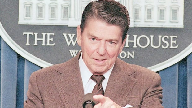 On April 4, 1984, in his 23rd news conference broadcast live on radio and television, President Ronald Reagan publicly calls for an international ban on chemical weapons.