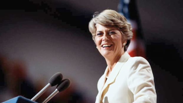 After presidential candidate Walter Mondale announced Rep. Geraldine Ferraro as his choice for running mate on July 12, 1984, Ferraro addresses the audience at the Minnesota State Capitol. Ferraro was the first female vice presidential candidate to run on a major ticket.