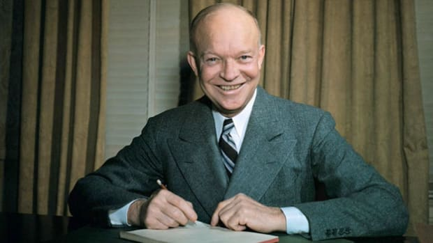 "On April 16, 1953, after the death of Russian Premier Joseph Stalin, President Dwight D. Eisenhower delivers what is known as his ""Cross of Iron"" speech before the American Society for Newspaper Editors, contrasting the philosophies of the Soviet Union and the United States."