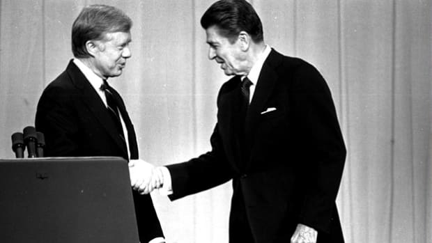 "Held on October 28, 1980, the debate between former California governor Ronald Reagan and incumbent President Jimmy Carter covers the issues of inflation, the energy crisis and terrorism. In his closing statement, Reagan makes an impact when he poses this question: ""Are you better off now than you were four years ago?"""
