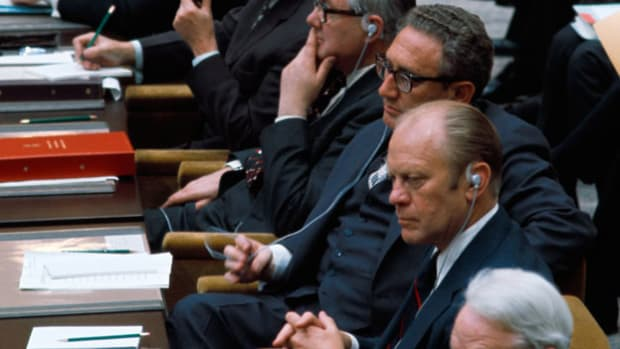 On August 1, 1975, at the Helsinki Accords, a major diplomatic agreement was signed by 35 nations, including the United States and the Soviet Union, in an attempt to secure peace between the eastern and western blocs. In a speech delivered at the Finland conference, President Gerald Ford promises to do his part for the good of all nations.