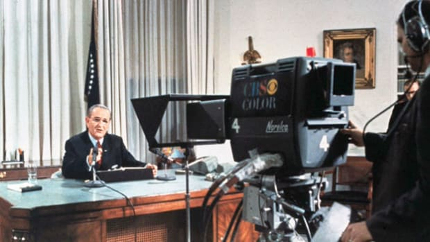 Facing a country sharply divided over the Vietnam War, President Lyndon B. Johnson announces in a national television and radio broadcast on March 31, 1968, that he will not seek reelection to the presidency.