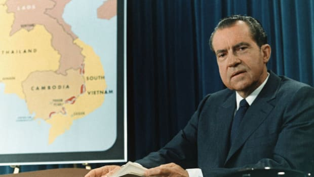 On April 30, 1970, President Richard Nixon asks the American people to support his decision to send troops into Cambodia in response to North Vietnam's invasion of the country.