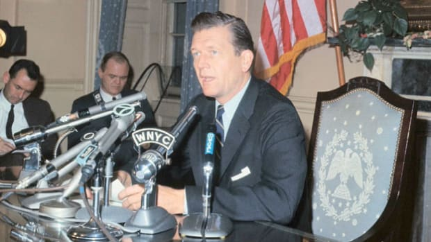 In a broadcast on January 13, 1966, to the people of New York, Mayor John Lindsay announces the end of a transit strike in the city. The strike, which started the first day of Lindsay's term, lasted 12 days.