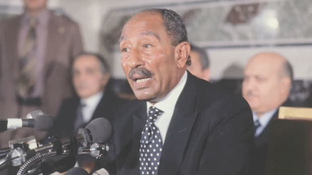 "After Egyptian President Anwar el-Sadat said he was willing to go to ""the ends of the earth""--and even to the Israeli Parliament--to create peace between the two nations, the Israeli government responded with an invitation. On November 20, 1977, Sadat delivers a speech to the Israeli Knesset proposing a peace settlement with Israeli Prime Minister Menachem Begin."