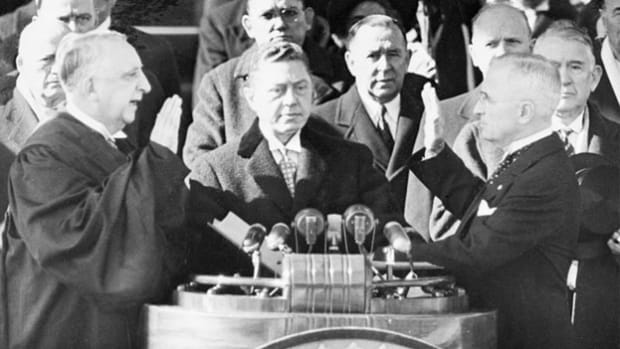 On January 20, 1949, beginning his second term, President Harry Truman denounces communism and presents a program for peace in his inaugural address.