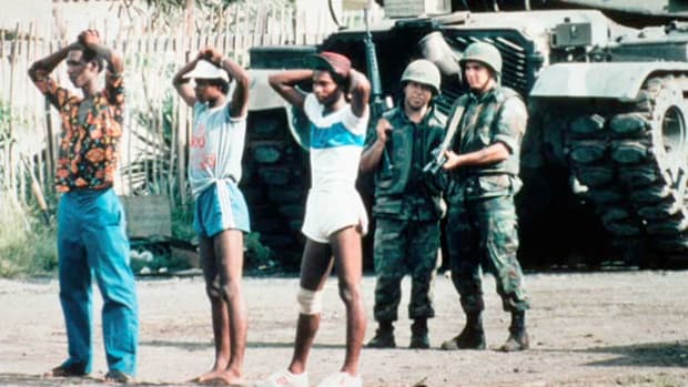 On October 25, 1983, a broadcast from the island republic of Grenada calls for its citizens to take action against an invasion launched by the United States.