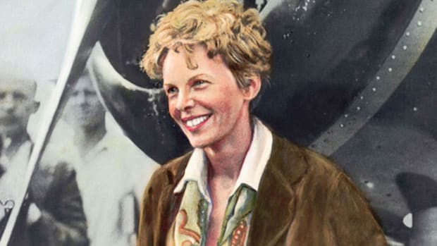 In a 1935 radio broadcast on a woman's place in science,  Amelia Earhart encourages women to make their mark on the new field of aviation. On June 18, 1928, Earhart became the first woman to successfully fly across the Atlantic Ocean.