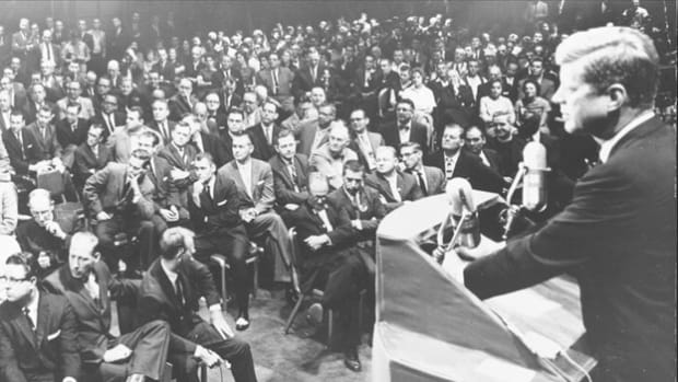 As only the second Catholic to run for presidential office in a majority Protestant nation, John F. Kennedy was confronted with the issue of his religion throughout his campaign. In order to defuse concerns that his religious views would interfere with his ability as chief executive, he delivers a speech on September 12, 1960, to the Greater Houston Ministerial Association stressing the importance of the separation of church and state.