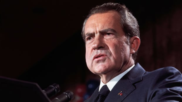 "On November 7, 1972, incumbent President Richard Nixon won a second term in a landslide victory over Democrat George McGovern. In a brief statement from the Oval Office, President Nixon promises to bring ""peace with honor"" in Vietnam and to usher in a ""new era of peace"" with the Soviet Union."