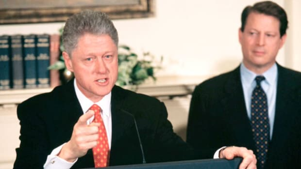 In a public statement to the American people on January 26, 1998, President Bill Clinton denies allegations of having had an affair with White House intern Monica Lewinski.