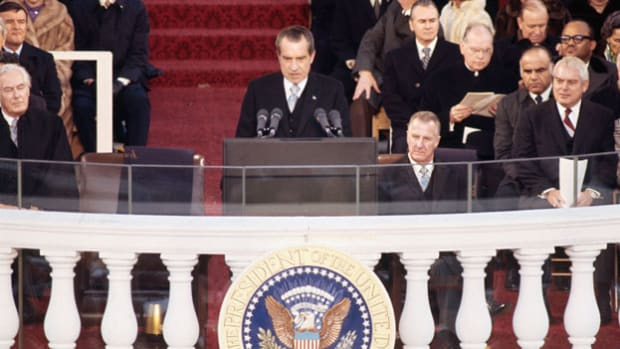After a landslide reelection victory, incumbent President Richard Nixon stresses America's role in the pursuit of world peace during his second inaugural address, delivered on January 20, 1973.