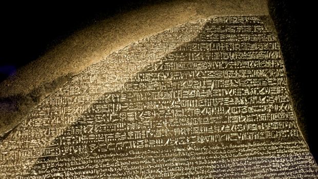 In a This Day in History video, learn that on July 19, 1799, the Rosetta Stone unlocked the language of the pharaohs. For 14,000 years, no one had been able to read Egyptian hieroglyphs until Napoleon's army stumbled upon a clue: a 4x2 tablet with three languages inscribed on it. One of the languages on the tablet was Greek and it revealed that all three of the languages contained the same message; therefore, it unlocked the secret language.