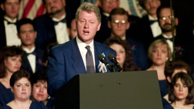 On April 23, 1995, President Bill Clinton attends the Time of Healing prayer service held in Oklahoma in response to the act of terrorism that killed 168 people. President Clinton speaks at the event and expresses the nation's grief.