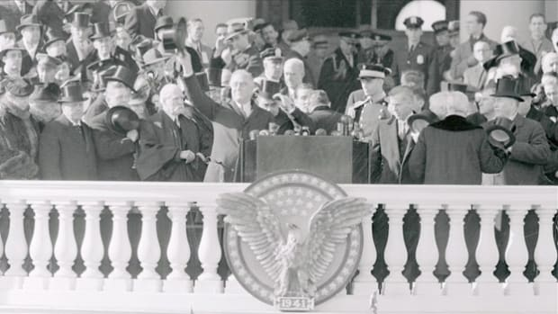 The only U.S. president ever elected to a third term, Franklin D. Roosevelt delivered his third inaugural address on January 20, 1941. His remarks stress America's obligation to take action during the international crisis.