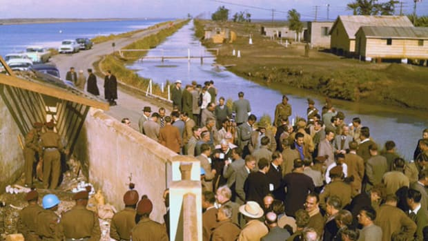 In an address to the U.N. Security Council on October 31, 1956, Great Britain's Sir Pierson Dixon discusses French and English military operations in response to Egypt's nationalization of the Suez Canal.