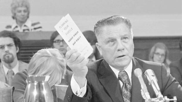 Teamsters leader Jimmy Hoffa speaks about the difficulties of prison life after a December 23, 1971, pardon by President Richard Nixon ended his 15-year sentence for jury tampering and fraud.