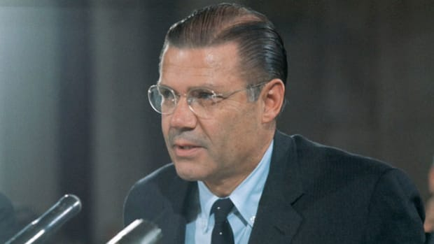 Robert McNamara, the U.S. secretary of defense since 1961, testifies at the Senate Foreign Relations Committee hearings in February 1966 on escalating U.S. military involvement in Vietnam.