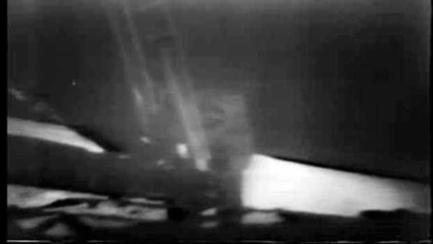 Compare existing footage with newly restored video of Neil Armstrong's historic first steps off of the lunar module and onto the surface of the moon. From NASA.