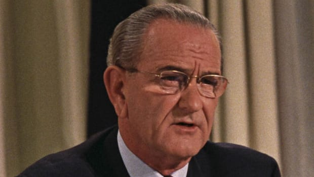 President Lyndon B. Johnson confidently gives his resignation speech as he steps down from the office of the presidency on March 31st of 1968.