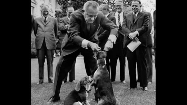 When President Lyndon Johnson lifted his beagle, Him, by its ears to pose for an A.P. photographer, he set off a nationwide barrage of protests from animal lovers. In this April 29, 1964, telephone call with Senator Mike Mansfield, Johnson briefly discusses the civil rights bill, which is awaiting a vote in the Senate, then complains about how Senator Everett Dirksen is focusing on the incident with the dog.