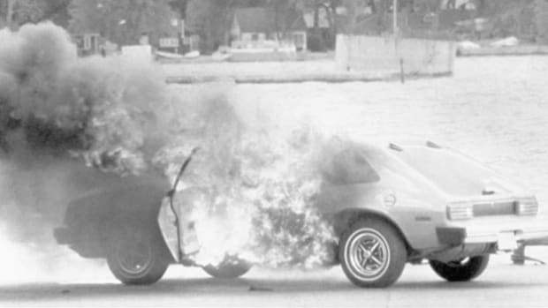 A news report outlines an upcoming criminal trial against the Ford Motor Company, set for January 15, 1980. The car manufacturer was charged with reckless homicide in the deaths of three Indiana teenagers who were killed when their Ford Pinto was hit from behind. Ford was accused of having prior knowledge of a design defect in the gas tank that would rupture in rear-end collisions.