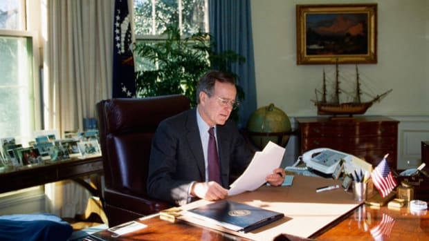 In a live report from the Oval Office, President George H.W. Bush announces the deployment of U.S. armed forces to Saudi Arabia. Troops were sent to the Arab nation to deter further Iraqi aggression after Iraq's invasion of Kuwait on August 2, 1990.