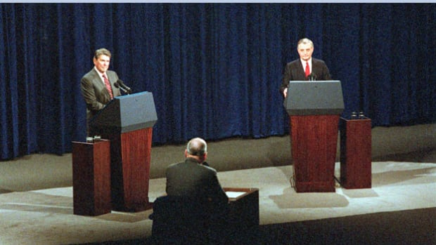 On October 21, 1984, President Ronald Reagan and former Vice President Walter Mondale engage in their second nationally broadcast debate. When Henry Trewhitt of the Baltimore Sun asks the president about his advancing age, Reagan turns the question on its head by promising not to make an issue of his opponent's youth and inexperience.