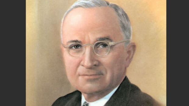 On October 24, 1949, the cornerstone of the permanent United Nations headquarters was laid in New York City. President Harry Truman delivers a speech emphasizing the need to make the common good a top priority.