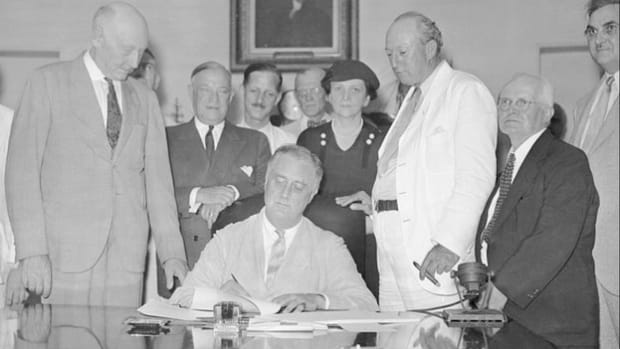 In his April 28, 1935, fireside chat radio broadcast, President Franklin D. Roosevelt praises the newly adopted Works Relief Program and discusses the new Social Security Act recently introduced in Congress.