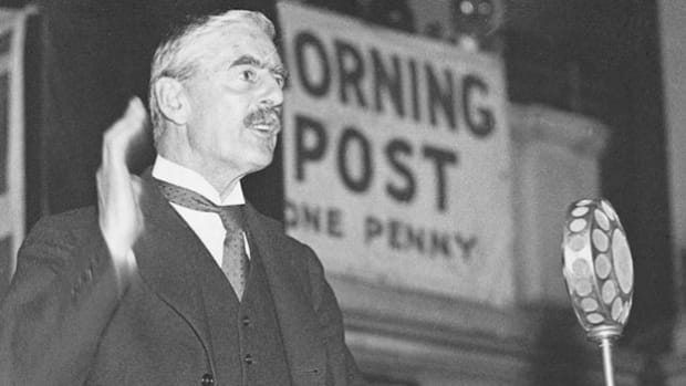 On September 3, 1939, in a radio broadcast to his nation, Prime Minister Neville Chamberlain announces that Germany's refusal to withdraw its troops from Poland after its September 1 invasion has pushed Great Britain to war.