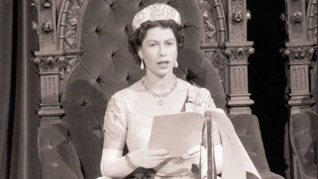 On December 25, 1963, Queen Elizabeth II delivers her annual Christmas greeting to her subjects in Great Britain and around the world.