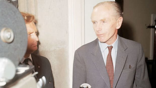 In Washington, D.C., on a state visit in February 1964, Prime Minister Sir Alec Douglas-Home defends Britain's limited trade with Fidel Castro's Cuba.