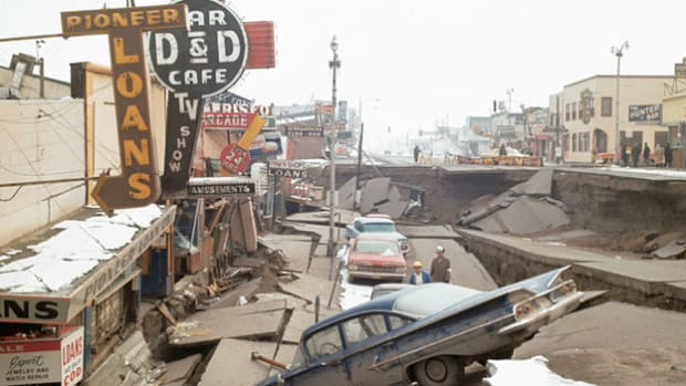 After President Lyndon Johnson declared Alaska a major disaster area, a news report tallies the damage resulting from the strongest earthquake in American history, which jolted southern Alaska on March 27, 1964, and measured 8.4 on the Richter scale.