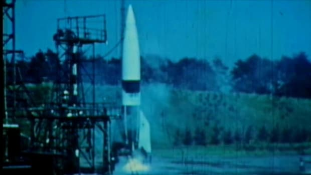 In a History Uncut video, view footage of Germany's experimentation with V-2 rockets in the year 1942.
