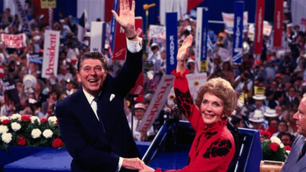 After unsuccessfully seeking the presidential nomination in 1968 and 1976, Ronald Reagan was nominated at the Republican National Convention on September 7, 1980. In his acceptance speech, the former California governor tells American taxpayers that they do not exist to fund the federal government.