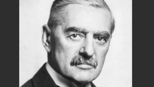 "Seeking to avoid war in Europe, leaders from Britain, France and Italy signed the Munich Pact on September 29, 1938, agreeing to Hitler's demands and ceding Czechoslovakia to Germany. Upon his return to England the following day, the architect of the appeasement policy, Prime Minister Neville Chamberlain, declares ""peace in our time."""