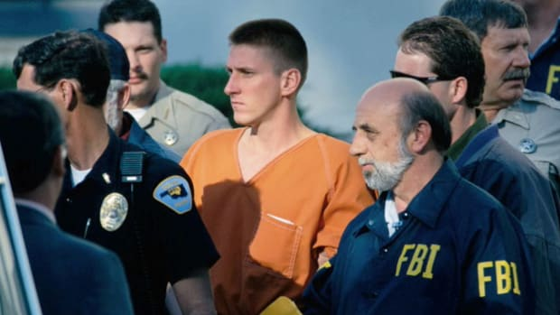 On June 13, 1997, Timothy McVeigh was sentenced to death for his role in bombing the Alfred P. Murrah Federal Building in Oklahoma City. Following the announcement of the verdict, comments are made on its effect on the victims' families.