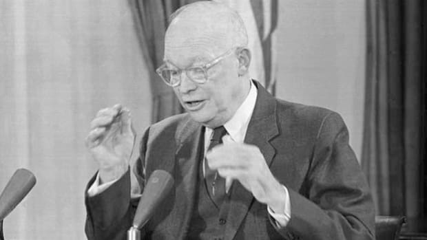 "On January 17, 1961, in a national broadcast, Dwight D. Eisenhower speaks to the American people for the last time as president and famously warns about the growing influence of the ""military-industrial complex."""