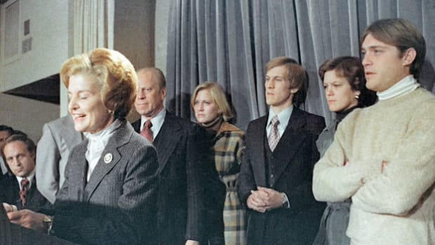 In November 1976, President Gerald Ford was defeated in his re-election campaign by challenger Jimmy Carter. Because Ford was hoarse from campaigning, First Lady Betty Ford speaks on his behalf, informing the nation that the president officially conceded and offered his congratulations to the new president-elect.