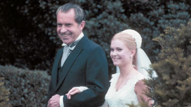 Despite the fact that the news had already been leaked to the press, President Richard Nixon makes an official announcement on March 17, 1971, of the engagement of his eldest daughter, Tricia to Edward Cox.