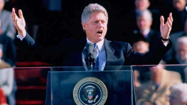 After defeating incumbent President George H. W. Bush and ending 12 years of Republican leadership in the White House, President Bill Clinton emphasizes change and renewal in his inaugural address on January 20, 1993.