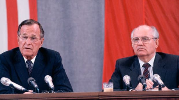 On July 31, 1991, the Strategic Arms Reduction Treaty was signed in Moscow by U.S. President George H.W. Bush and Soviet President Mikhail Gorbachev, committing each superpower to reducing nuclear arms by a third. In a press conference held at the Kremlin, President Bush discusses the economic cooperation implicit in the peace negotiations.