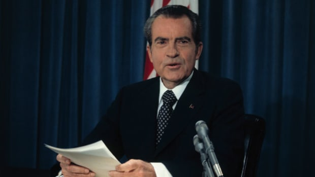 On August 15, 1973, President Richard Nixon addresses the nation concerning Watergate, explaining his refusal to turn over subpoenaed presidential tape recordings.
