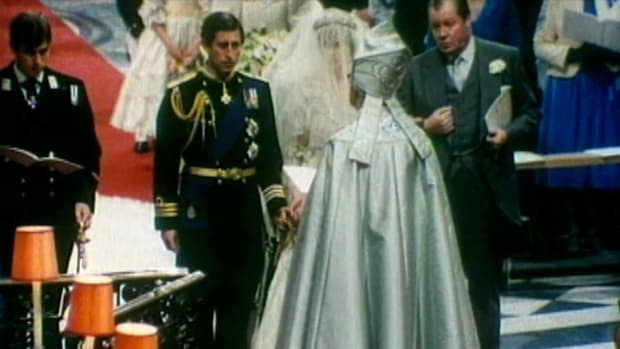 Rewind Breaking News  The History Channel: British Movietone covers one of the most famous weddings in history: the marriage of Prince Charles of Wales and Lady Diana Spencer. 3,500 guests in St. Paul's Cathedral witness the event, as well as an estimated global television audience of 750 million. The Archbishop of Canterbury leads the traditional Church of England service. Diana's nerves showed briefly when she mixes up her husband's many first names during the recitation of the wedding vows. This video clip is courtesy of The History Channel.
